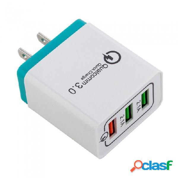 Qc3.0 adaptador de corriente del cargador de pared rápido usb de 3 puertos para xiaomi / huawei / iphone / samsung us