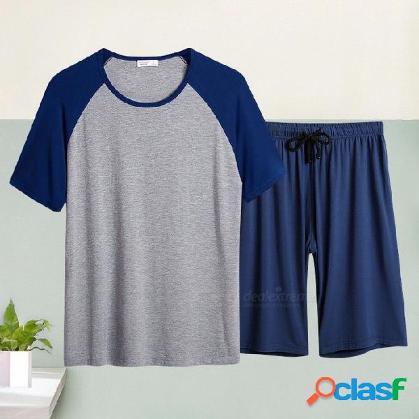 Ropa de dormir para hombre superior suave cómodo cómodo informal ropa de casa hombre pantalones cortos de dormir pijamas negro / m