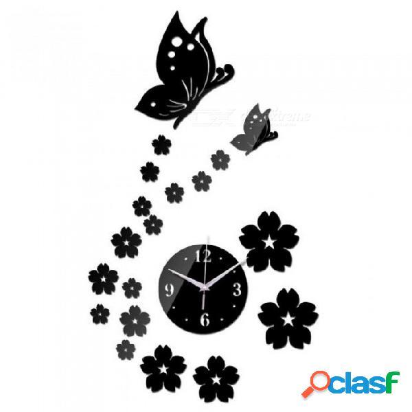 Diy espejo reloj de pared acrílico 3d pegatinas europa decoración sala de estar regalo muebles para el hogar mariposa pegatina plata