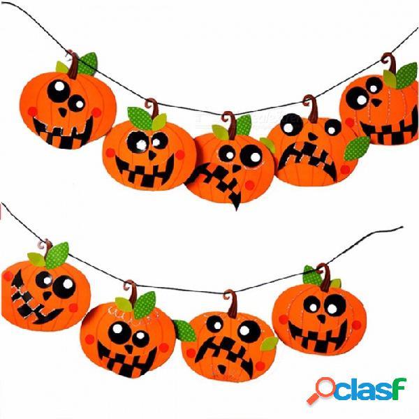 Halloween bricolaje papel garland calabaza emoticon cráneo bruja partido decoraciones bandera divertido naranja