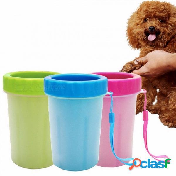 Modelos de explosión perros limpian taza lavando pies gatos lavando las garras cepillo de silicona mascota pie taza antibacterial verde / s
