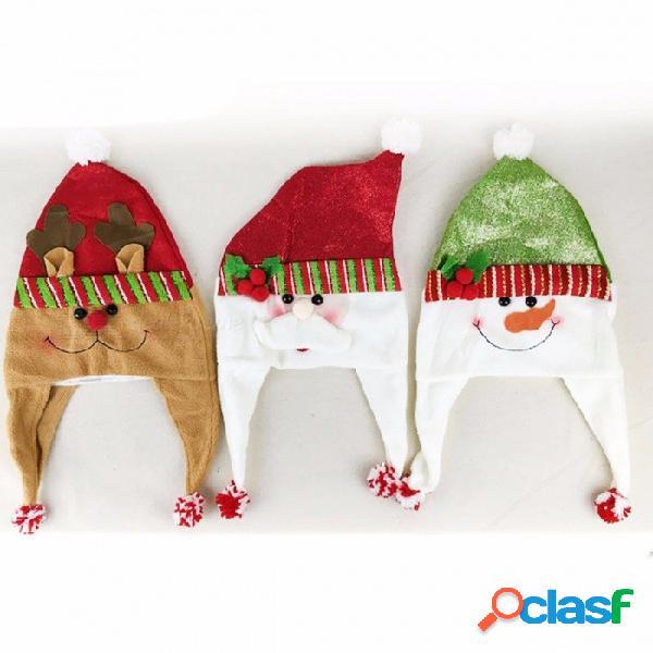 Niño adulta navidad sombrero niños santa reindeer muñeco de nieve dibujos animados patrón fiesta lindo casquillo navidad decoraciones de fiesta verde
