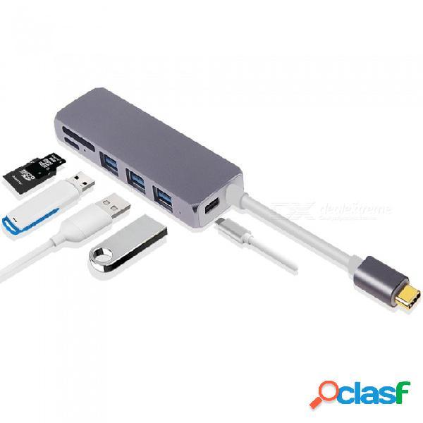 Adaptador tipo c a usb3.0, usb-c a 3 puertos usb 3.0 / convertidor usb 3.1 (pd) con ranura para tarjeta micro sd