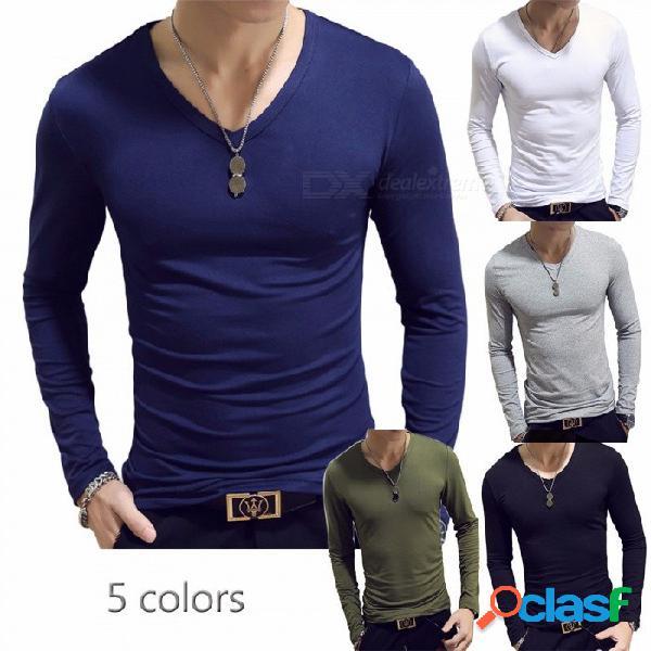 Camisa de manga larga delgada de color sólido para hombre casual con cuello en v camisa ajustada para hombres negro / m