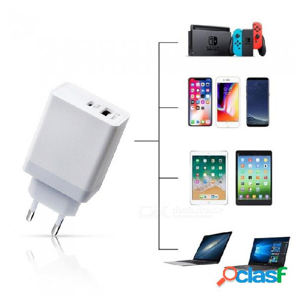 Cargador de pd-type usb c carga rápida del adaptador de corriente usb para iphone x / samsung / ipad / macbook enchufe de la ue