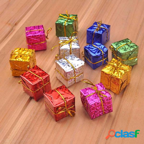 Christmas decorations colorful small gift boxes christmas tree new year pendants 12 pcs random color