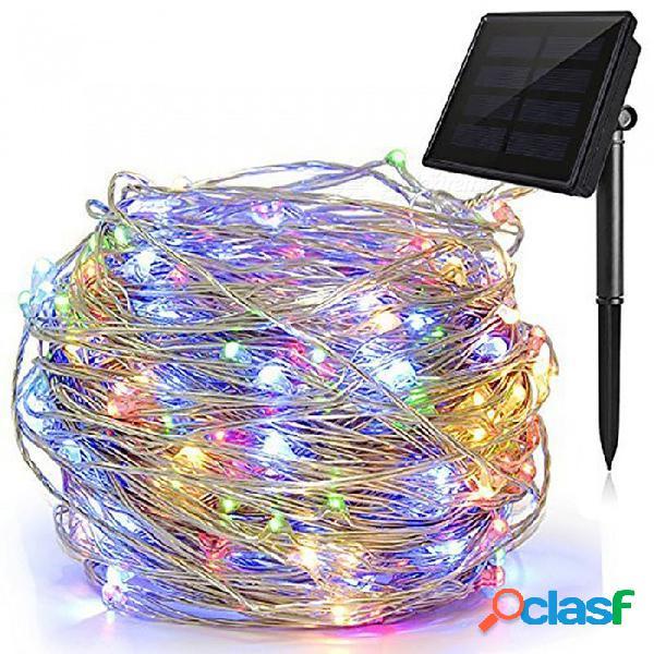 Luces solares de cadena, luces estrelladas de 72 pies y 8 modos, 200 luces led impermeables christams ip65 a prueba de hadas (blanco cálido)