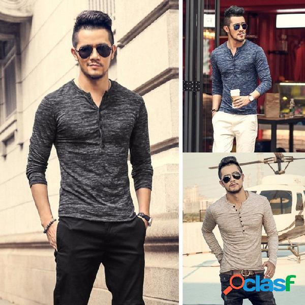 Otoño invierno nueva moda puerta abierta umbral bambú seda hombres camisetas de base manga larga de algodón delgado moda camiseta azul / m