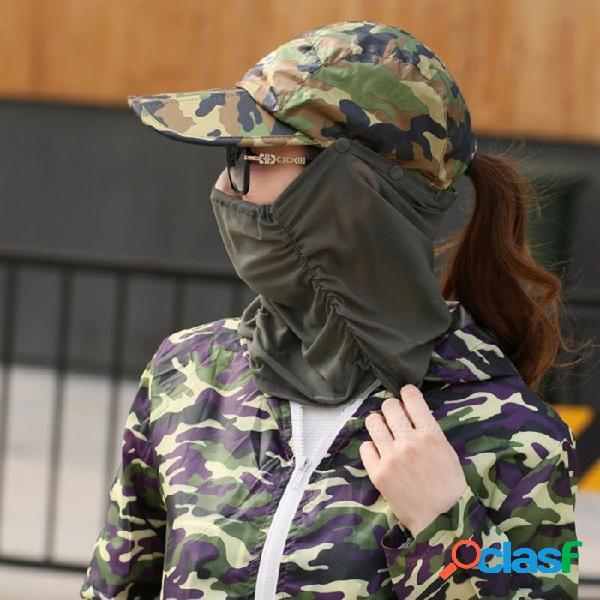 Visera gorra para el sol con máscara de malla protectora para la cara para mujeres sombrero para el sol para deportes al aire libre viajes pesca ejército verde
