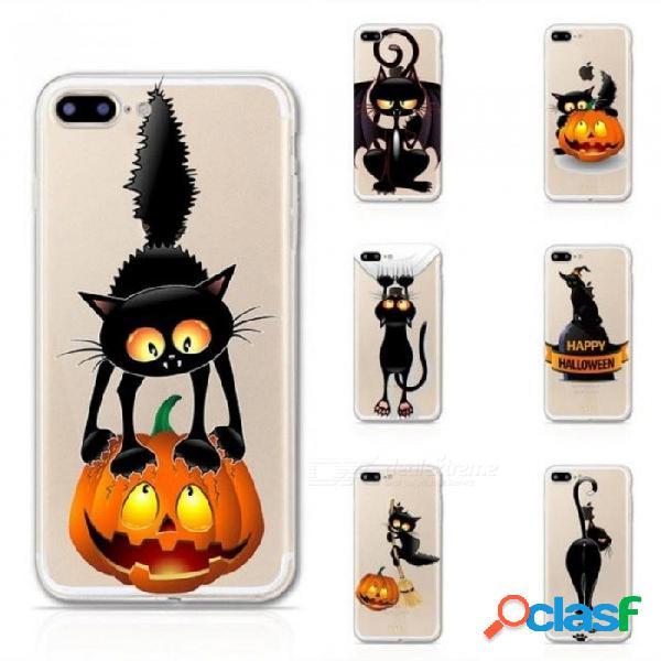 Cajas del teléfono del patrón del gato negro de halloween para el caso del iphone 5s 5 para el iphone 6 6s 6plus caja suave del teléfono de tpu para el iphone 7 8 más la cubierta para el ipho
