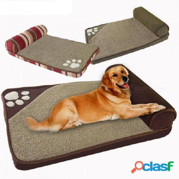 Camas para perros para perros grandes casa sofá perrera almohada cuadrada husky labrador teddy perros grandes casa de gatos camas estera 60x35cm / azul
