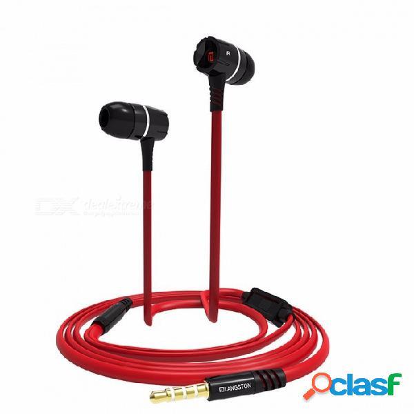 Langsdom eh350 3.5mm cable plano con cable estéreo incorporado micrófono incorporado auriculares universales para mp3, teléfono móvil mp4, negro