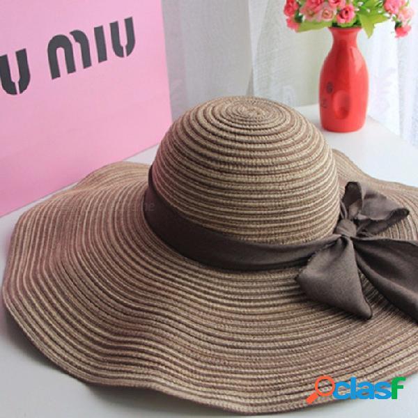 Señoras verano sombrero hilado de algodón sombrero del sol pajas de proa al aire libre plegable playa sombrero azul