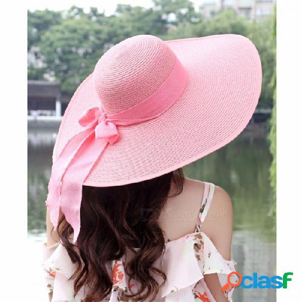 Sombrero de paja grande de ala ancha grande del verano sombrero de paja sombrero de playa sombreros plegables para las mujeres bloquean uv