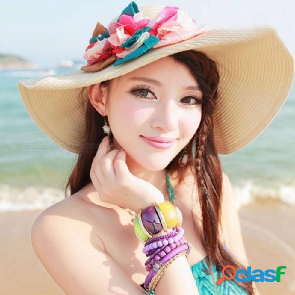 Sombrero de protección solar de vacaciones de verano sombrero de playa plegable de estilo bohemio al aire libre viajes
