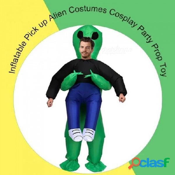 Traje de monstruo inflable verde asustadizo dinosaurio mascota cosplay traje para adulto animal halloween purim fiesta un tamaño / verde
