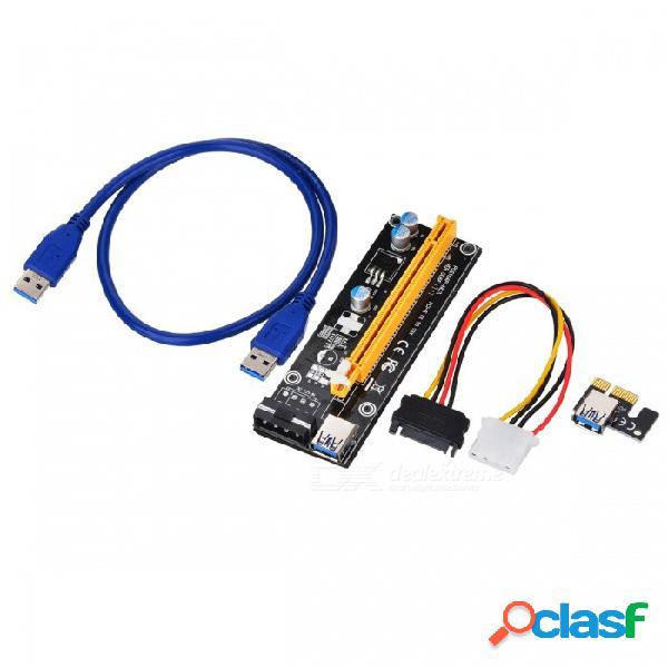 Chipal 60cm pci express pci-e extensor de tarjeta pcier 1x a 16x adaptador pcie + cable usb 3.0 + sata de 15 pines a cable de alimentación ide de 4 pines