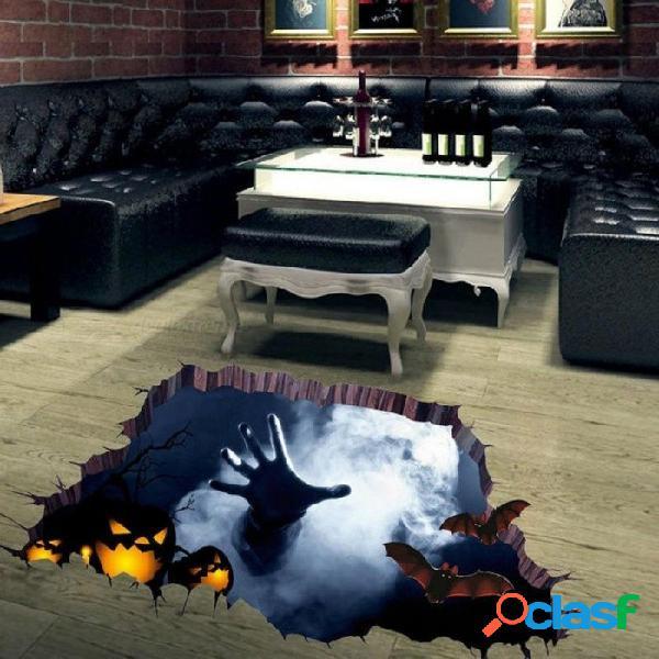 Halloween 3d vista de miedo una mano atrapar la araña web etiqueta de la pared mural del piso extraíble halloween fiesta de fondo decoración a