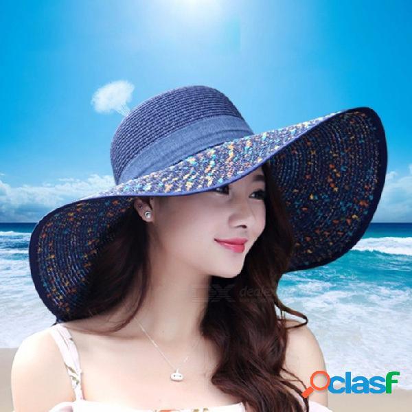 Sombrero de sol de las mujeres de paja de ala ancha arco nudo lino moda casual protección uv verano playa gorra al aire libre blanco