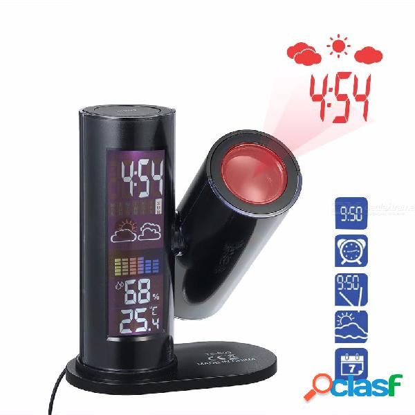 Digital weather station rcc radio controlled time alarm clock with outdoor 360 rotate thermometer humidity hygrometer