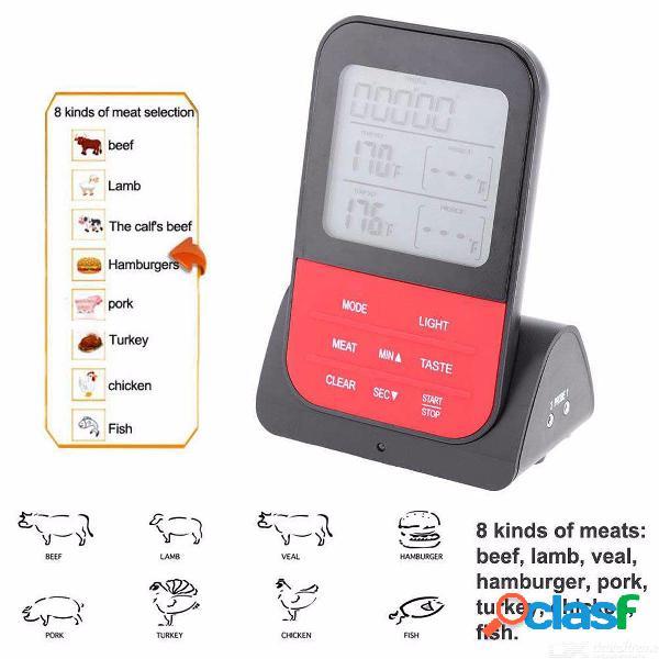 Inalámbrico, doble sonda, termómetro digital de alimentos, barbacoa electrónica, parrilla, medidor de temperatura de la cocina