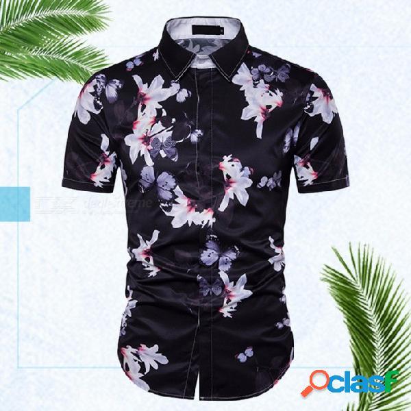 Nuevo diseño floral de la personalidad de los hombres camiseta de vacaciones de playa de manga corta estilo europeo y americano negro / m