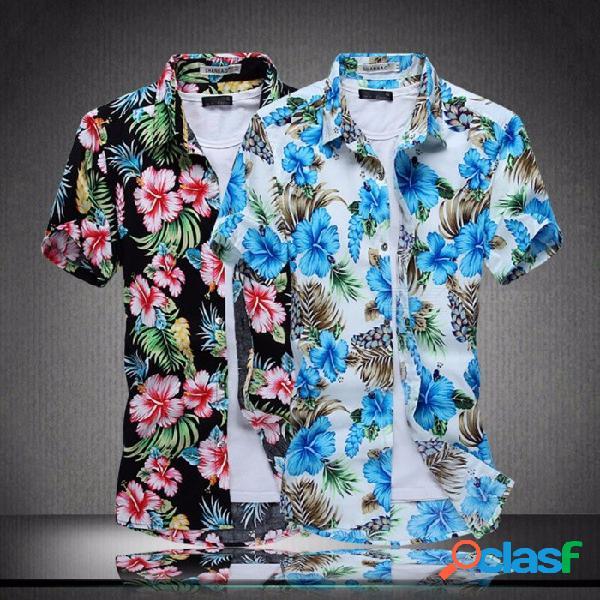 Camisa de manga corta de los hombres del verano camisa impresa de la flor de los hombres camisa delgada coreana de la flor - azul