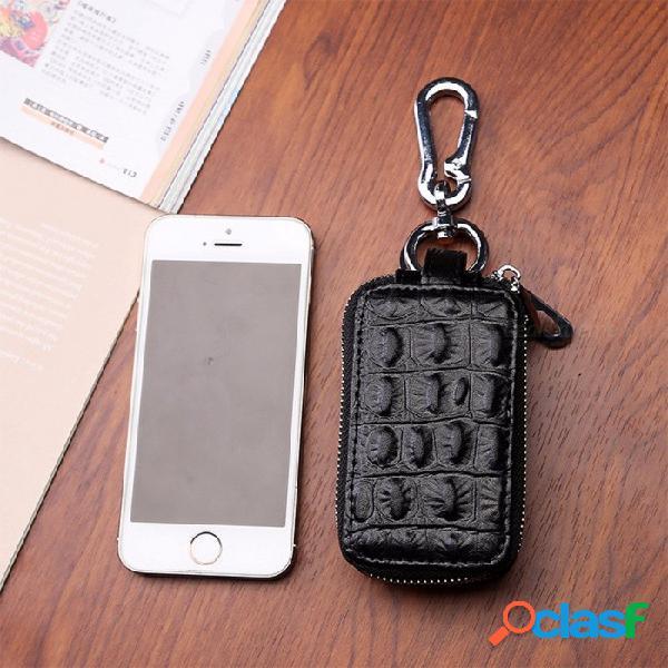 Funda de cuero de la llave del coche de la moda, bolsa unisex del bolso de la cartera de la llave de la cremallera del cocodrilo de la capa doble