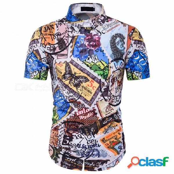 Camisa de corte slim de manga larga de los hombres de verano 3d camisa de manga corta de impresión casual de hawaii multi / xxl