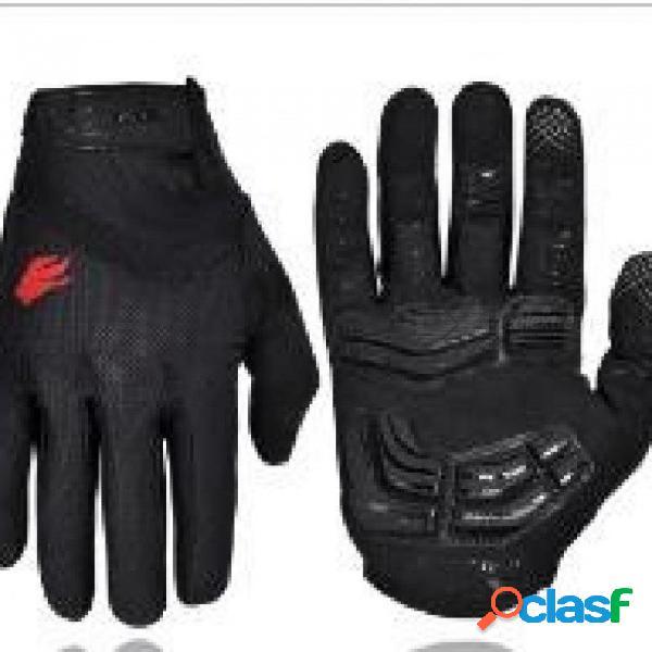 Exterior dedo completo gel pantalla táctil guantes de ciclismo fuera de carretera dirt mountain bike bicicleta mtb dh guante de motocross de descenso m / negro