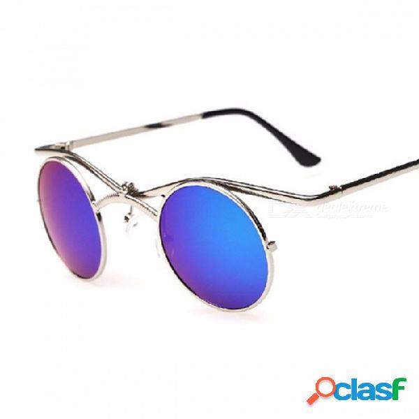 Gafas de sol unisex con lentes redondas retro gafas de sol de protección uv400 para hombres, mujeres, almohadilla nasal ajustable negro