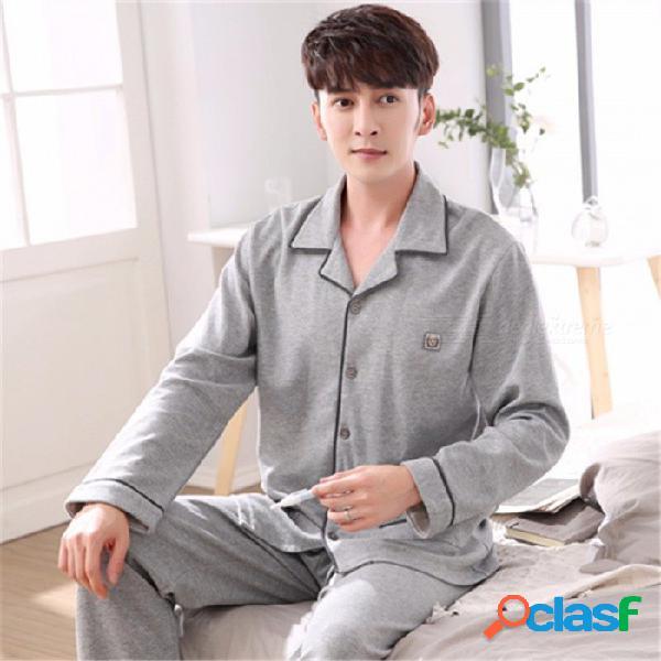 Pijamas de primavera y otoño de los hombres establecen ropa de dormir, cuello vuelto de manga larga más ropa de dormir de tamaño homewear gris / xxxl