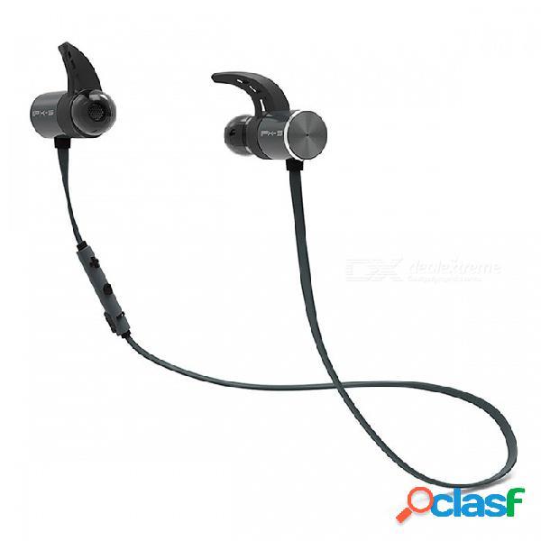 Plextone bx343 inalámbrico bluetooth ipx5 auriculares impermeables auriculares, auriculares magnéticos auriculares con micrófono para el deporte del teléfono negro