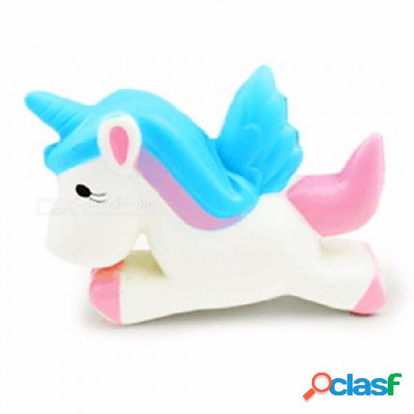 Pu pastel de rebote lento pegaso unicornio juguete de descompresión de espuma, squishy lento levantamiento colgante de correa de dibujos animados lindo blanco
