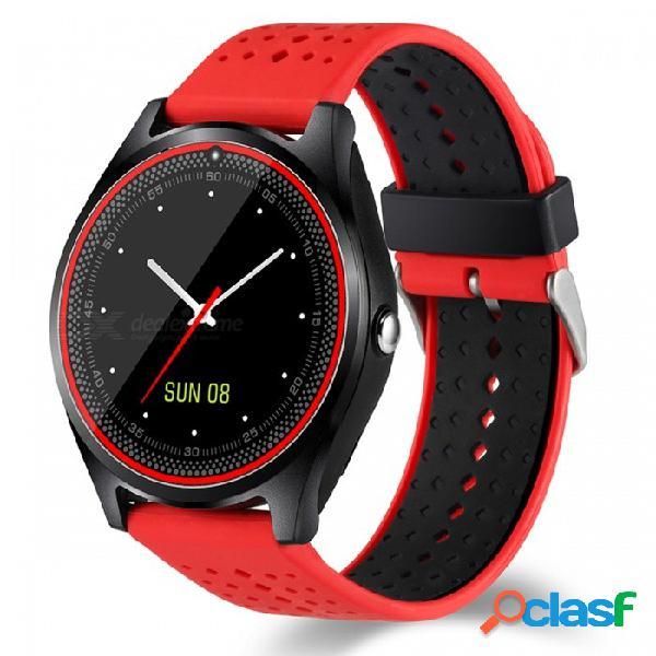 Bluetooth v9, teléfono inteligente con reloj, compatible con tarjeta micro sim 2g, con cámara, podómetro, monitorización del ritmo cardíaco - rojo