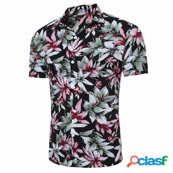 Camisa delgada de manga corta con estampado floral de verano de los hombres camisa casual de la playa hawaiana - negro