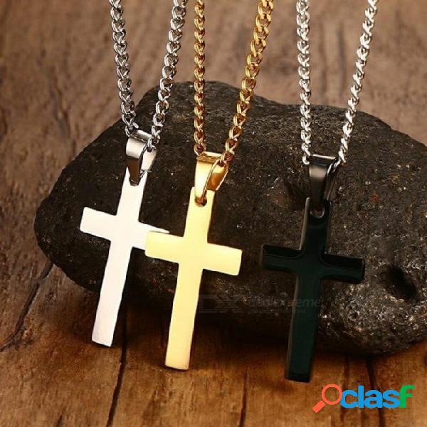 """Collar para hombre clásico con colgante en forma de cruz 24 """"collar de cadena de eslabones de acero inoxidable joyería llamativa negro oro plata"""