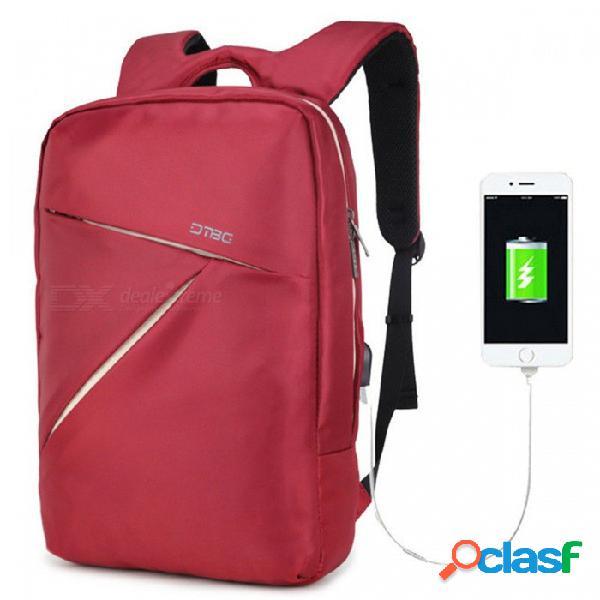 Dtbg d8120w bolsa de portátil de 15,6 pulgadas para hombres, mujeres, mochila de viaje con mochila de viaje con puerto usb para macbook pro asus lenovo - rojo