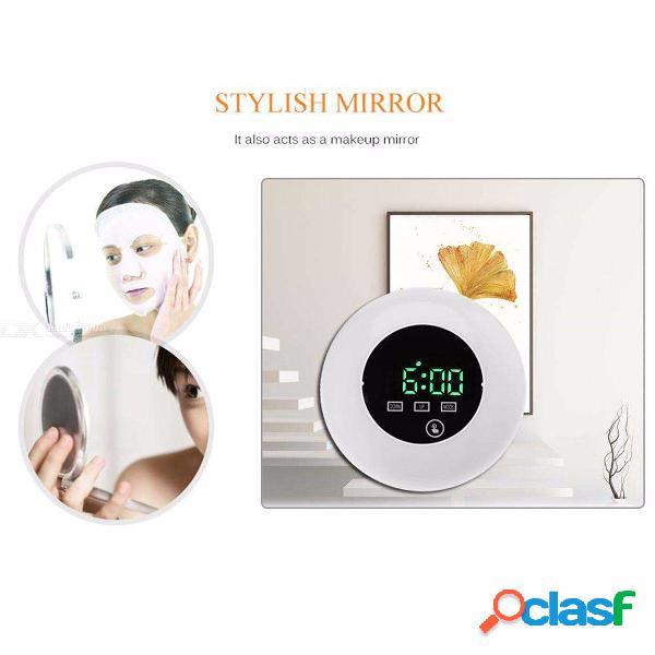 Espejo creativo superficie led reloj digital luz nocturna despertador electrónico mini escritorio mesa relojes