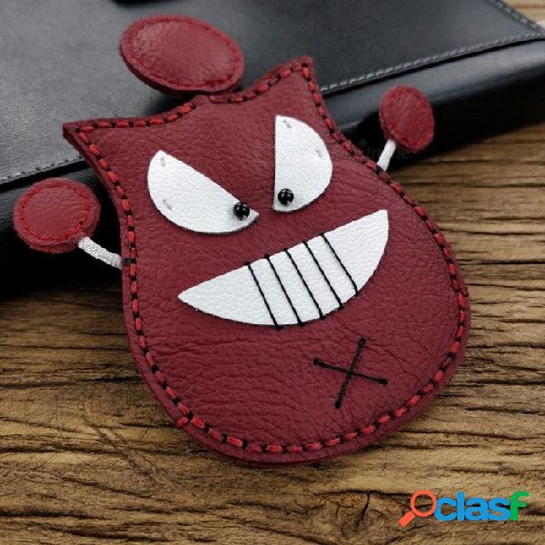 Mini monedero lindo del bolso de la caja de la llave del coche del cuero de la historieta, monedero de costura de la bolsa del tenedor de la llave de la mano - pequeño diablo patrón negro