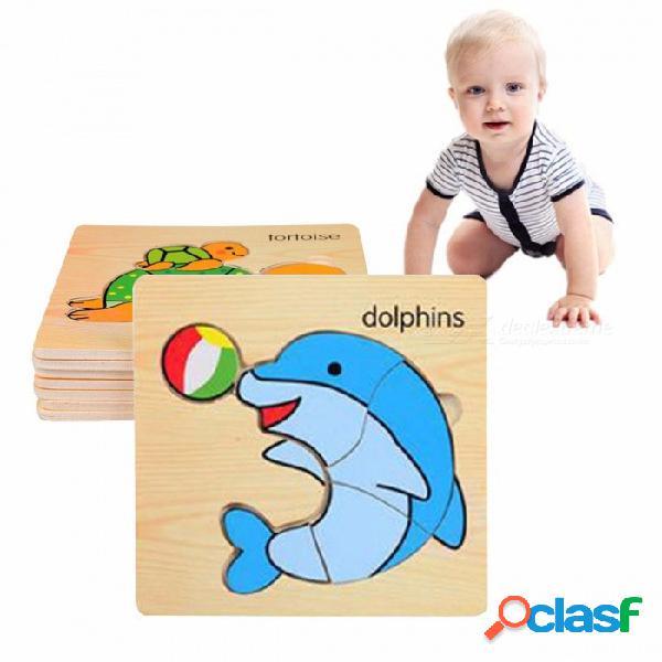 3d juguete de rompecabezas de madera placa de embrague animales marinos, juguete educativo de la primera infancia para niños capacidad cognitiva (8 pcs) amarillo