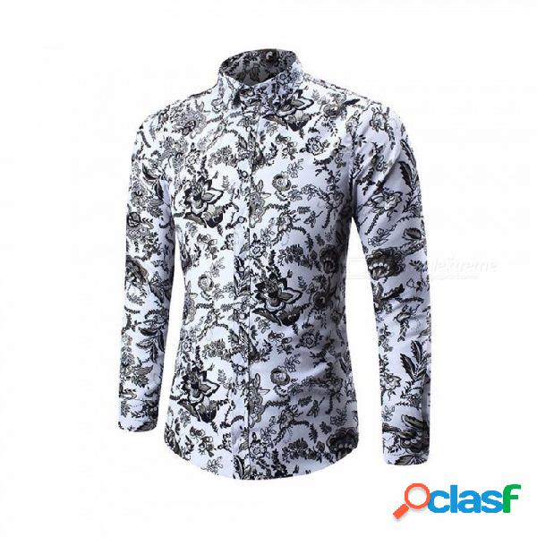 Camisas de manga larga delgada delgada ocasional de la impresión de los hombres para el otoño invierno gris / m