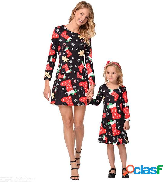 Christmas mother daughter dress santa snowflake stocking print long sleeve xmas family matching clothes outfit dresses
