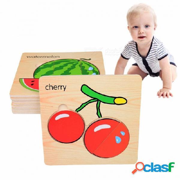 Juguete rompecabezas de la placa de embrague de madera 3d, juguete educativo de la primera infancia para niños con capacidad cognitiva (8 pcs) amarillo