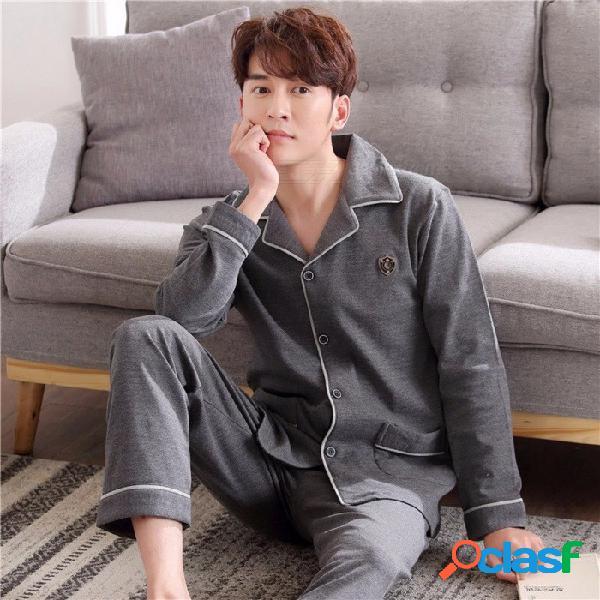 Los pijamas de los hombres de primavera suave otoño establecen la ropa de noche, de manga larga 100% algodón y ropa de dormir de tamaño mediano homewear gris oscuro / l