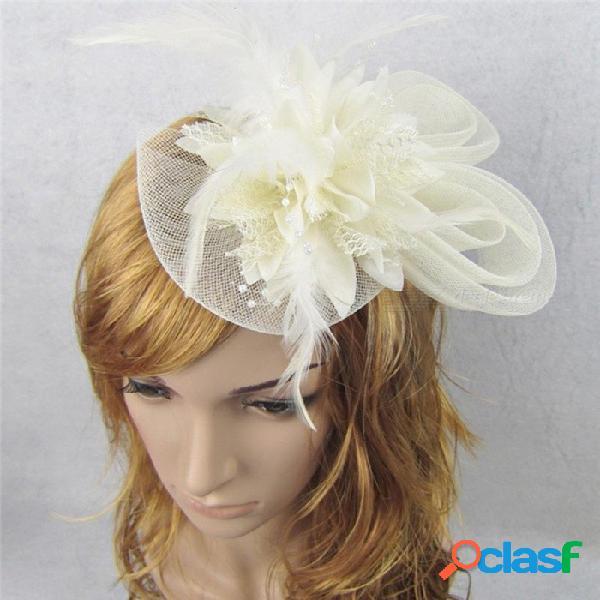 Mujeres chic fascinador sombrero cóctel banquete de boda iglesia tocado de la moda de moda elegante pluma accesorios para el cabello de color azul claro