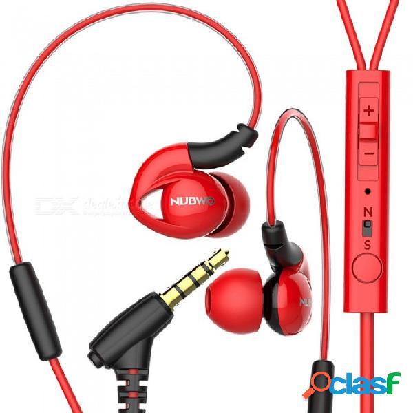 Nubwo ny51 deportes auriculares impermeables bajos auriculares intrauditivos con micrófono para iphone, samsung, xiaomi, huawei, sony - rojo