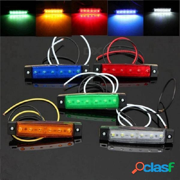 1pc dc 24v 6 smd led camión autocar camión remolque lateral marcador indicador luz lateral lámpara blanco / rojo / ámbar / azul / verde amarillo