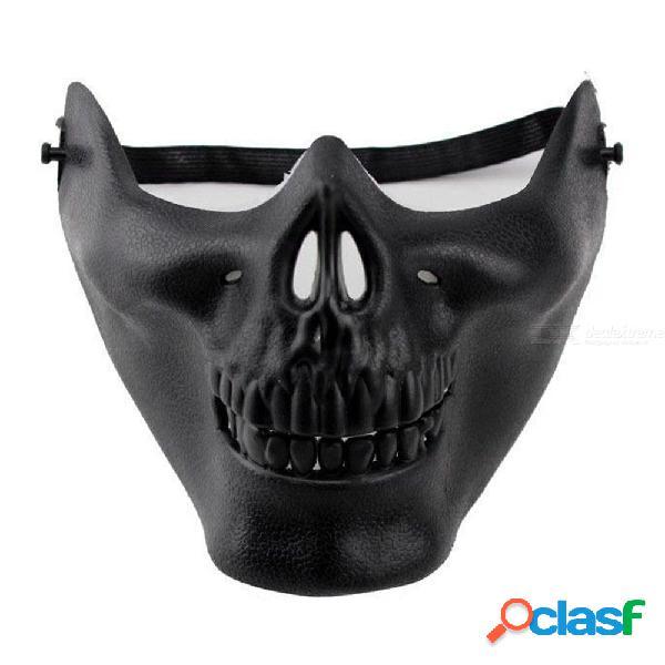 Fiesta del cráneo máscaras de miedo mascarada cosplay horror mitad cara boca máscara máscara juegos del ejército máscara