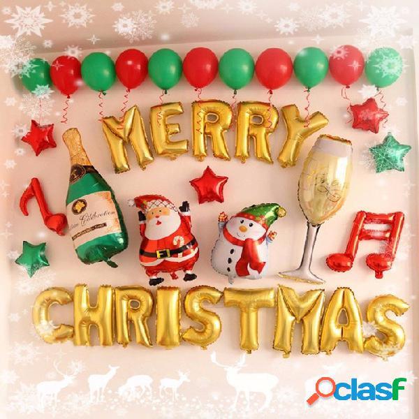 Globos de decoración de navidad feliz año nuevo cartas de inglés paquetes de globo de aluminio tiendas de ventana multi